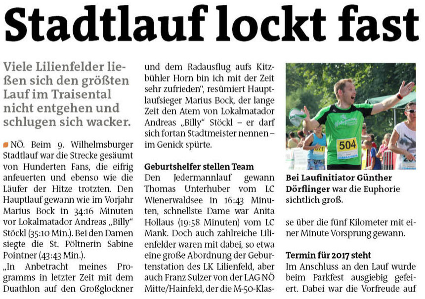 Bezirksblatt Stadtlauf 2016 Lilienfeld 1
