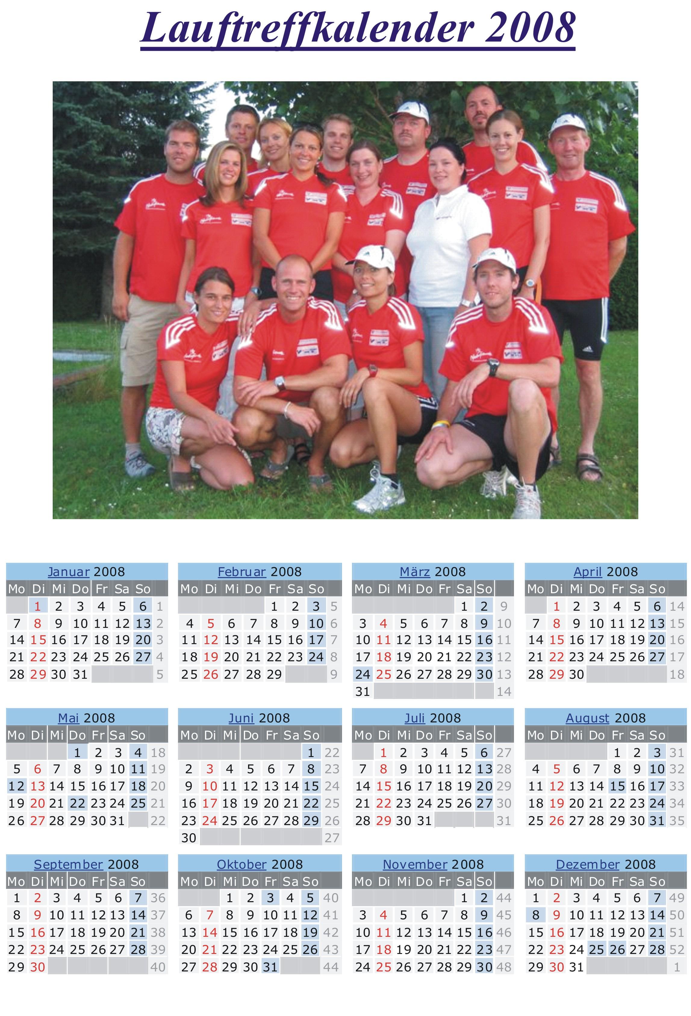 Laufkalender 2008 Lauftreff Weihnachtsgeschenk